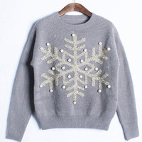 Beaded Twinkle Snow Knitted Sweater