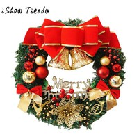 30-50cm Christmas Large Wreath Door Wall Ornament Garland Decoration Bowknot Christmas Tree Bow Decoration Christmas Hanging