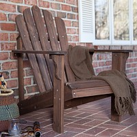 Durable Fir Wood Adirondack Chair with Armrest in Dark Brown