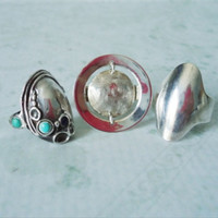 Three Sterling Silver Taxco Ring - Mid Century Sterling Silver Rings -  Vintage Taxco Sterling Ring