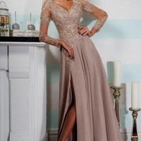 Long Sleeve V-Neck Applique Prom Dresses