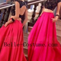 Satin Crew Neck Backless Prom Dresses, Two Piece Prom Dress, Lace Prom Dresses, Two Piece Evening Dress
