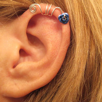 No Piercing Blue Wild Flower Ear Cuff for Upper Ear 1 Cuff Wire Color Choices