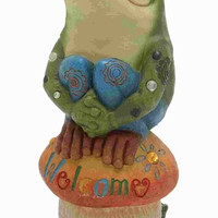 Benzara Attractive Poly Stone Frog On Mushroom with Welcome Sign