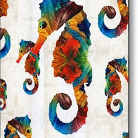 Colorful Seahorse Collage Art By Sharon Cummings Metal Print