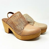 Free People Logan Clog Perforated Leather Womens Peach Pearl Platform Size 6