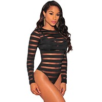 Black Sheer Striped Unlined Bodysuit