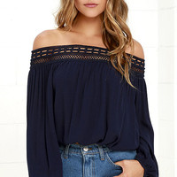 Festival Day Navy Blue Lace Off-the-Shoulder Top
