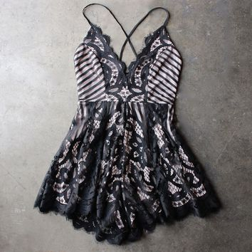 midnight all over lace romper in black