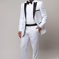 White 1 Button Peak Lapel Tuxedo