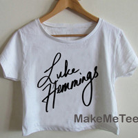 New Luke Hemmings Sign 5 Seconds Of Summer 5 SOS Crop top Tank Top Women Black and White Tee Shirt - MM2