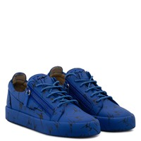 Giuseppe Zanotti Gz The Signature Blue Fabric Low-top Sneaker With Black Logo Motif - Best Deal Online
