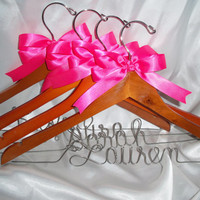 Set of 4 - Personalized bridesmaid gift custom hanger bridal hanger wedding hanger bride gift wedding dress hanger