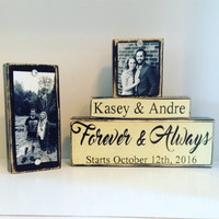 Wedding Gift unique couple gift wooden sign personalized gift wedding date bridal shower 5th gift anniversary gift forever and always photos