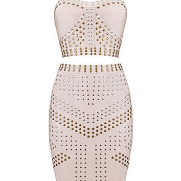Two Pieces Apricot Sexy Studded Bandage Dress