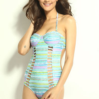 Multi Colored Stripe Halterneck Swimwear with Cut-Outs
