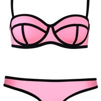 Pandolah Push up Bright Diving Suit Neoprene Padded Swimsuit Bikini Set Swimwear (US Size 2-4 (S), Pink-7)