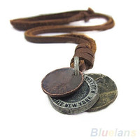 Fashion Men's Unisex Charm Choker 3 Coins Pendant Genuine Leather Necklace = 1651453316