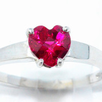 1 Carat Ruby Checkerboard Heart Ring .925 Sterling Silver Rhodium Finish White Gold Quality