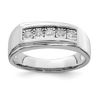 925 Sterling Silver Rhodium Men's Polished Diamond Ring