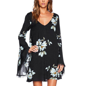Long Sleeve Floral Print Dress With Cut-out Back