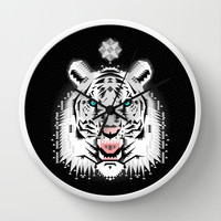 Silver Geometric Tiger Wall Clock by chobopop
