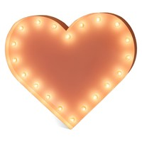One Foot Small Heart Vintage Marquee Sign with Lights (Pink Finish)