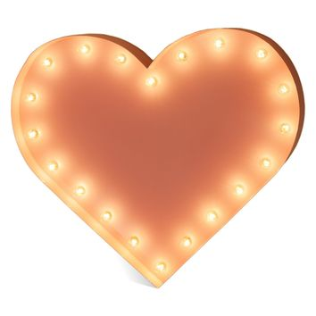 Heart Vintage Marquee Lights Sign (Pink Finish)