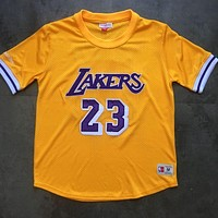 Mitchell & Ness 23 LeBron James Yellow Short Sleeve Jersey