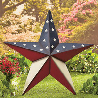 Large 2FT Metal Star Wall Art Barn Rustic Outdoor Patriotic Decoration Lawn Stake 2 Styles