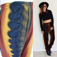 Vintage 70's soft hippie ethnic wrinkle tie dyed  tapered leg full over elastic waist pants brown black yellow islander