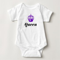Royal Queen Purple Floral Crown Personalized Baby Bodysuit