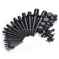 36pcs Taper Plug 14G-00G Double O-Ring Ear Gauge Stretching Kit Unique Black DKV