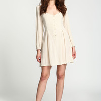 BEIGE BUTTONED LACE UP CREPE DRESS
