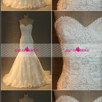 RW179 Lace Wedding Dress with Beading Pearls Crystal Mermaid Sweetheart Bridal Dress White Bridal Gown Long Wedding Gown Summer Dress Women