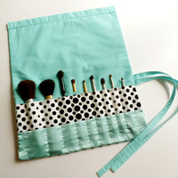 Retro Style Seafoam Green and Polka Dots make up brush roll (Large)