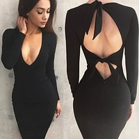 New long-sleeved hollow strappy bag hip sexy dress backless bow black