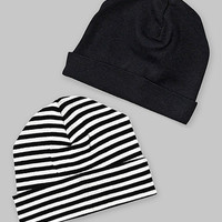 Black & White Stripe Beanie - Set of Two