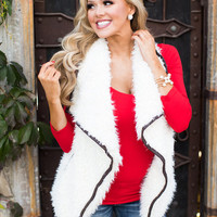 Mommy Open Front Fur Vest w/ Leather Trim- Cream