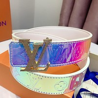 Louis Vuitton LV Laser Classic Popular Woman Men Fashion Smooth Buckle Leather Belt