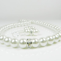 white pearl necklace earring set wedding jewelry for bride or bridesmaids