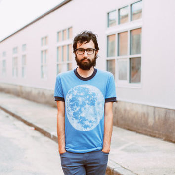 Mens graphic tee, full moon screenprint on American Apparel heather blue ringer tshirt by Blackbird Tees