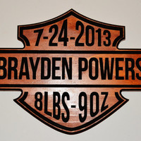 Harley Davidson Motorcycle Baby Name Birthday & Weight Sign - Custom Personalized Carved Wood Sign