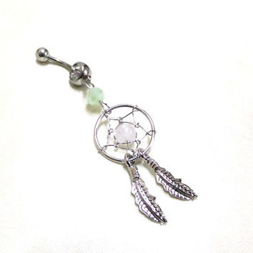 Silver Crystal Dreamcatcher Navel Ring, Green Crystal Belly Ring, Belly Bar Ring,Dream Catcher Belly Ring,White Bead Dreamcatcher Naval Ring