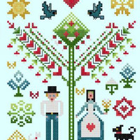 There is Love In This Home Sampler Cross Stitch Pattern | Los Angeles Needlework