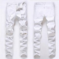 Fashion Mens jeans Designed Straight Slim Fit Denim Jeans Trousers Casual Skinny Pants White Black Red