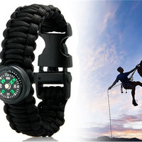 Durable Outdoor Survival Wrist Strap Bracelet with Compass (Black)
