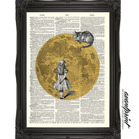 Midnight Cheshire Alice n Wonderland Print on an Unframed Upcycled Bookpage