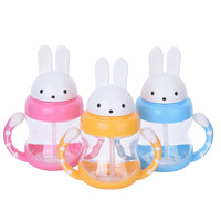 240ml Cute Rabbite Baby Feeding Cup with a Straw BPA Free Children Learn Feeding Drinking Handle Kids Water Bottles Training Cup