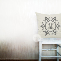 Monogram pillows decorative throw pillows monogrammed pillow snowflake letter pillow monogrammed throw Christmas pillows 12x18 inches pillow